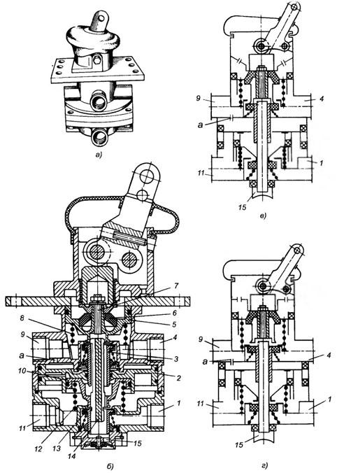 Схема тормозного крана прицепа 754
